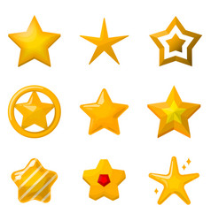 glossy gold stars in cartoon style icons set vector image