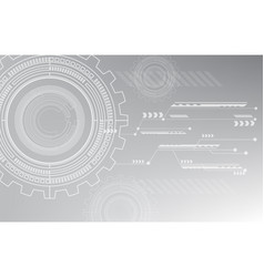 gray technology background circle cog line pattern vector image