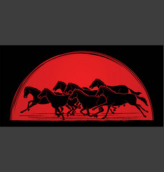 Group seven horses running cartoon graphic vector
