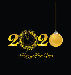 Happy new year 2020 with clock in gold vector