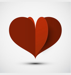 Heart 3d icon red paper cut origami love symbol vector