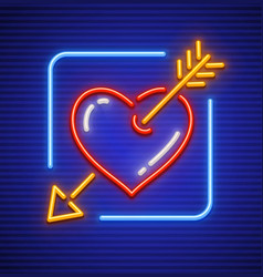 heart stricken by gold arrow vector image