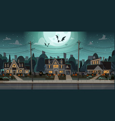 Houses decorated for halloween home buildings vector