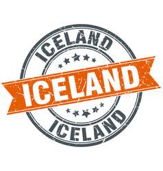 Iceland red round grunge vintage ribbon stamp vector