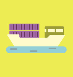 icon in flat design ship with containers vector image