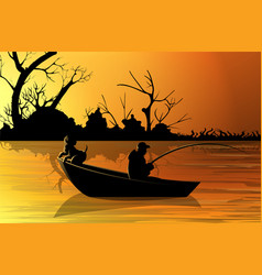 Image a fisherman on a boat n background vector