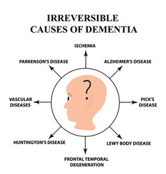 irreversible causes of senile dementia alzheimers vector image