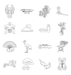 Japan set icons in outline style Big collection vector image