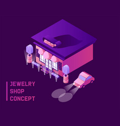 Jewelry shop concept in isometric 3d style dark vector