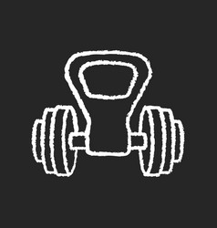 kettlebell handle chalk white icon on black vector image