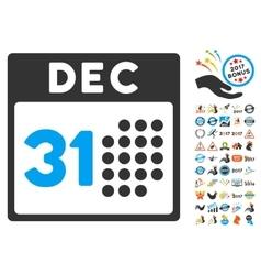 Last Year Day Icon With 2017 Year Bonus Symbols vector