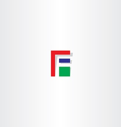 Letter f red green blue icon vector