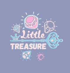 little treasure three color print for kids vector image