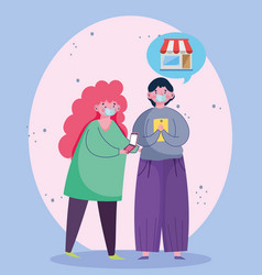 Man and woman using smartphone ordering ecommerce vector
