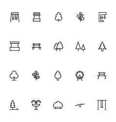 Park Line Icons 1 vector