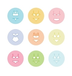 Pastel lingerie icons panties and bras different vector