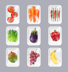 Plastic trays with fresh fruits and vegetables vector