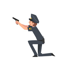 Policeman with gun police officer arrested vector