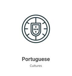 Portuguese outline icon thin line black vector