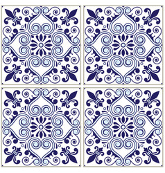 Portuguese tiles pattern - azulejo blue design vector