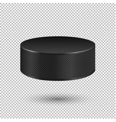 Realistic flying ice hockey puck closeup vector
