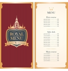 Royal menu with Big Ben vector