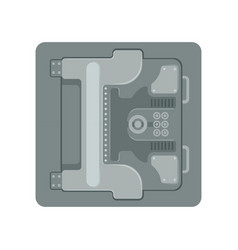 Safe metal armored box with a mechanical vector