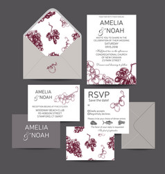 save date card with grape sketch vector image