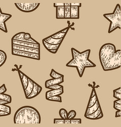 Seamless pattern beige color holiday objects vector