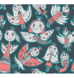Seamless pattern with cute fairies in childrens vector