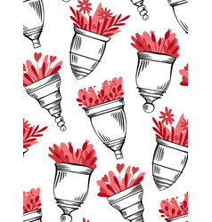 seamless pattern with sketch menstrual cups vector image