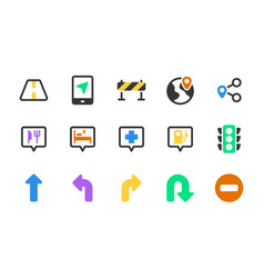 Set maps and location solid icons vector