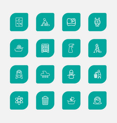 Set of 16 editable cleanup outline icons includes vector