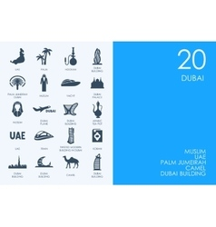 Set of BLUE HAMSTER Library Dubai icons vector image