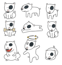 set of dog bull terrier vector image