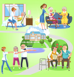 Set of old women and men spending time in nursing vector