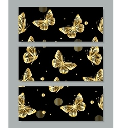 Set of three banners with gold butterflies vector