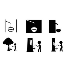 set rubber tree tapping icon and symbol vector image