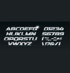 set steel letters font for dynamic vector image