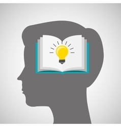 silhouette head boy book idea education online vector image