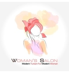 Silhouette woman in a turban vector