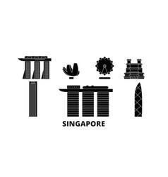 Singapore city flat travel skyline set singapore vector