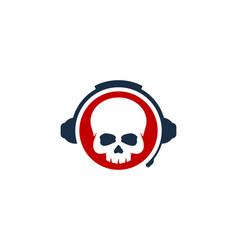 skull podcast logo icon design vector image
