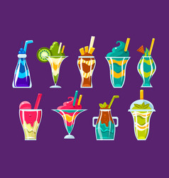 smoothies and sweet multilayered cocktails vector image