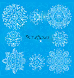 Snowflakes set round decorative ornaments for vector