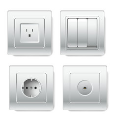 sockets with different number of slots types vector image