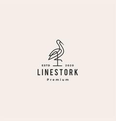 stork logo colorful line art monoline outline vector image