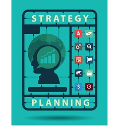 Strategy planning idea concept with business flat vector image