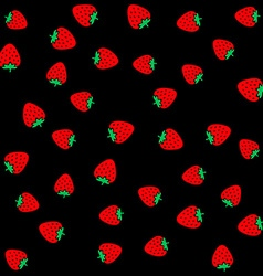 Strawberry berries on a black color seamless vector image