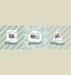 Three colored labels with wax vector